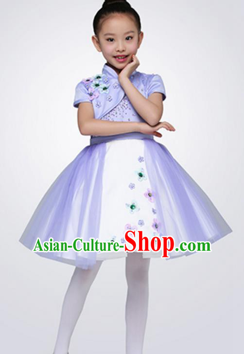 Top Grade Children Classical Dance Purple Chorus Dress, Compere Stage Performance Choir Costume for Kids