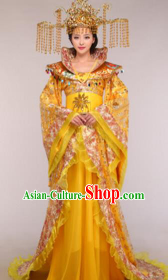 Traditional Chinese Ancient Queen Costume Tang Dynasty Empress Historical Clothing and Headpiece Complete Set