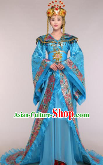 Traditional Chinese Ancient Queen Blue Costume Tang Dynasty Empress Historical Clothing and Headpiece Complete Set