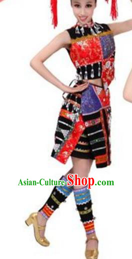 Traditional Chinese Dai Nationality Costume, Chinese Dai Ethnic Dance Dress and Bamboo Hat for Women