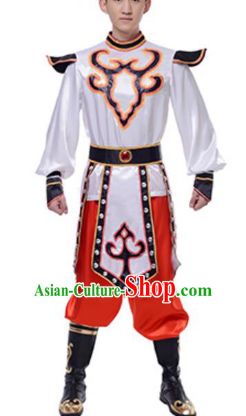 Traditional Chinese Mongols Nationality Clothing, China Mongolian Minority Swan Goose Dance Ethnic Costume for Men