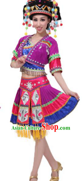 Traditional Chinese Miao Nationality Costume, Chinese Hmong Dance Ethnic Purple Dress and Headwear for Women