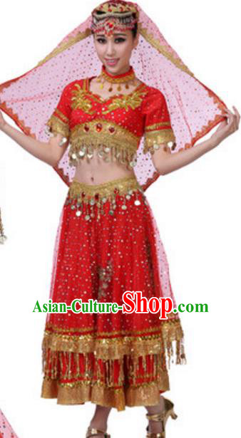 Traditional Chinese Uigurian Nationality Red Dress, China Uyghur Ethnic Dance Costume and Headwear for Women