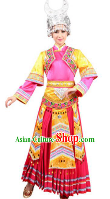 Traditional Chinese Miao Nationality Wedding Pink Pleated Skirt, Chinese Hmong Female Ethnic Folk Dance Costume and Headwear for Women