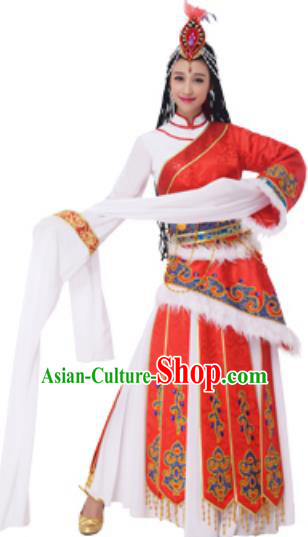 Traditional Chinese Zang Nationality Princess Pink Dress, China Tibetan Ethnic Dance Costume and Headwear for Women