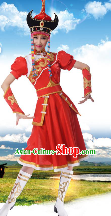 Traditional Chinese Mongols Nationality Princess Red Dress, China Mongolian Minority Ethnic Dance Costume and Headwear for Women
