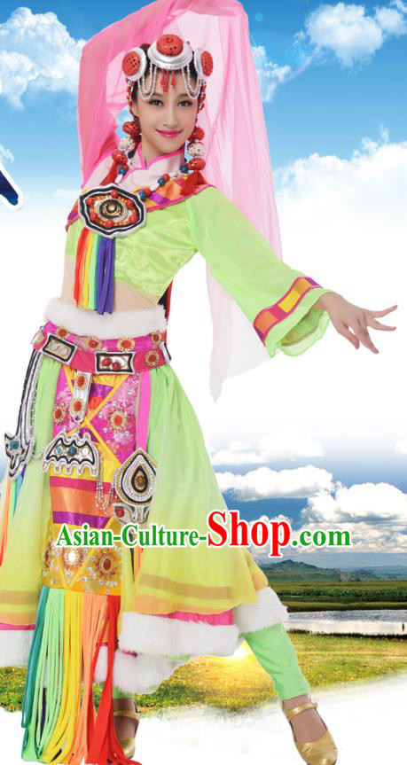 Traditional Chinese Zang Nationality Princess Green Dress, China Tibetan Minority Ethnic Dance Costume and Headwear for Women