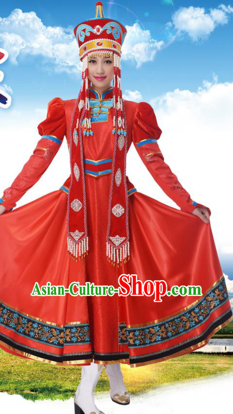 Traditional Chinese Mongolian Nationality Princess Red Dress, China Mongols Minority Ethnic Dance Costume and Headwear for Women