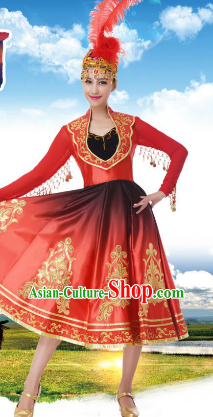 Traditional Chinese Uigurian Nationality Princess Red Dress, China Uyghur Minority Ethnic Dance Costume and Headwear for Women