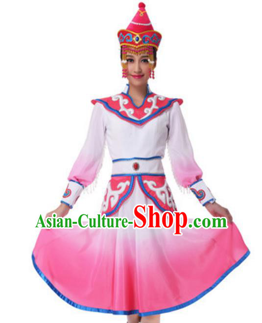 Traditional Chinese Mongol Nationality Princess Pink Dress, China Mongolian Minority Ethnic Dance Costume and Headwear for Women