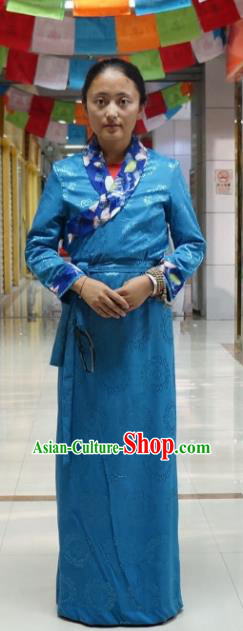 Chinese Traditional Zang Nationality Blue Dress, China Tibetan Heishui Dance Costume for Women