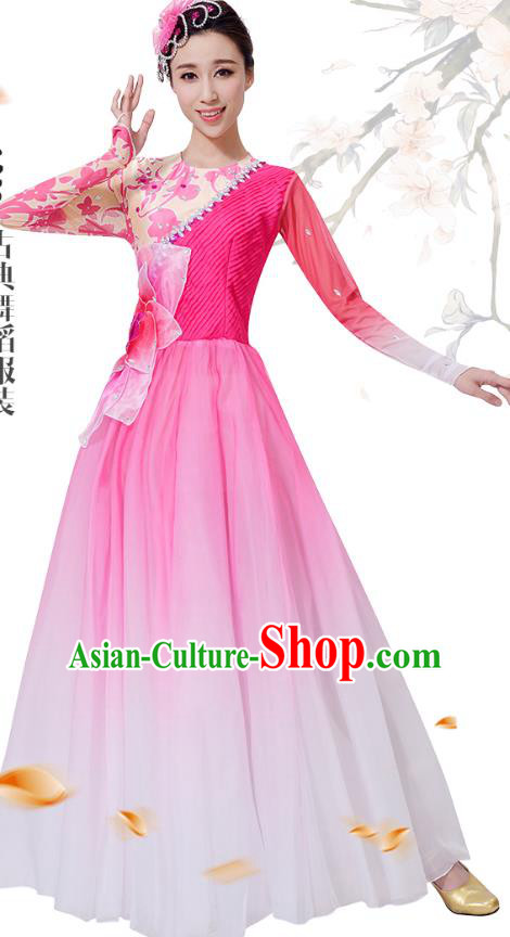 Top Grade Chinese Classical Dance Pink Dress Stage Performance Lotus Dance Costume for Women