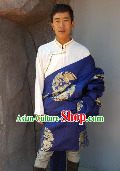 Chinese Traditional Zang Nationality Costume Dragon Satin Tibetan Robe, China Tibetan Ethnic Clothing for Men