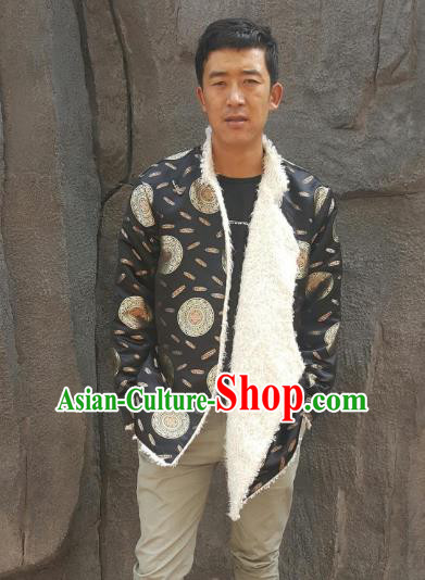Chinese Traditional Zang Nationality Costume Black Cotton-padded Jacket, China Tibetan Ethnic Clothing for Men