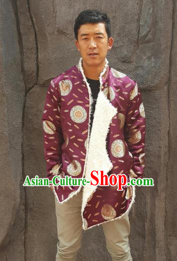Chinese Traditional Zang Nationality Costume Purple Cotton-padded Jacket, China Tibetan Ethnic Clothing for Men