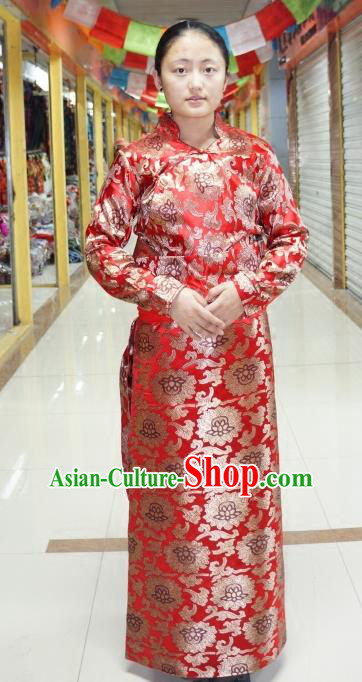 Chinese Traditional Zang Nationality Red Dress Clothing, China Tibetan Ethnic Heishui Dance Costume for Women