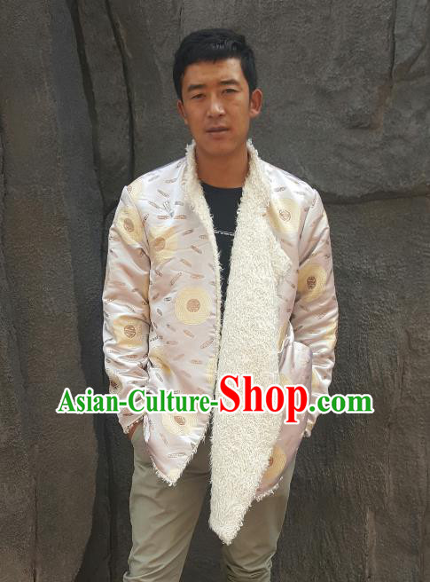 Chinese Traditional Zang Nationality Costume White Cotton-padded Jacket, China Tibetan Ethnic Clothing for Men