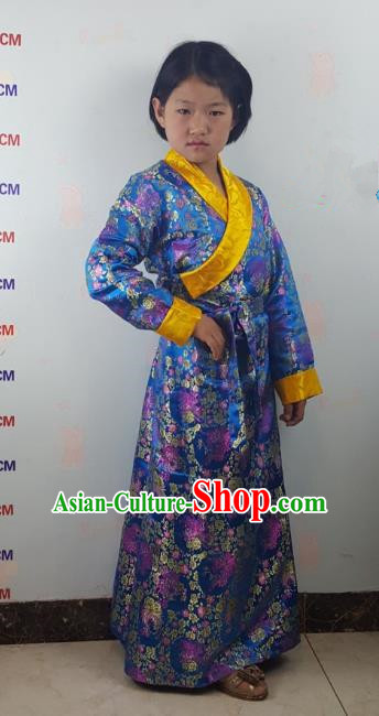 Chinese Traditional Zang Nationality Children Costume, China Tibetan Ethnic Blue Brocade Dress for Kids