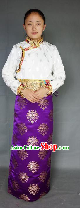 Chinese Traditional Zang Nationality Purple Brocade Skirt, China Tibetan Heishui Dance Costume for Women