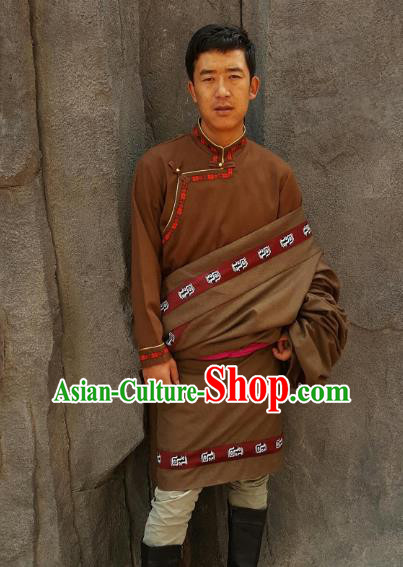Chinese Traditional Zang Nationality Male Brown Costume, China Tibetan Heishui Dance Ethnic Clothing for Men