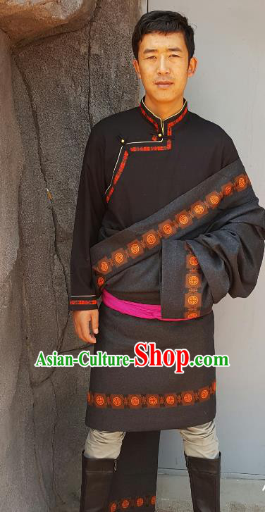 Chinese Traditional Zang Nationality Male Black Costume, China Tibetan Heishui Dance Ethnic Clothing for Men