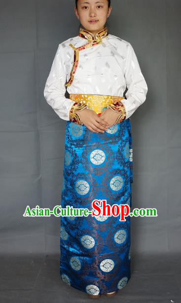 Chinese Traditional Zang Nationality Blue Brocade Skirt, China Tibetan Heishui Dance Costume for Women