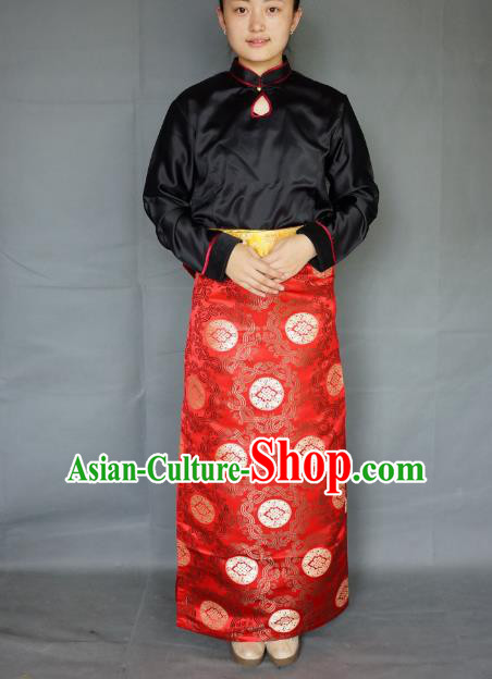 Chinese Traditional Zang Nationality Red Brocade Skirt, China Tibetan Heishui Dance Costume for Women