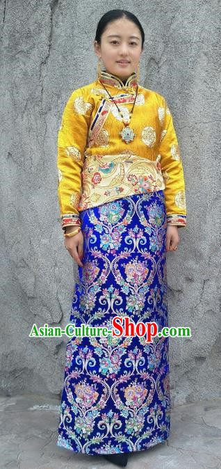 Chinese Traditional Zang Nationality Royalblue Brocade Bust Skirt, China Tibetan Heishui Dance Costume for Women