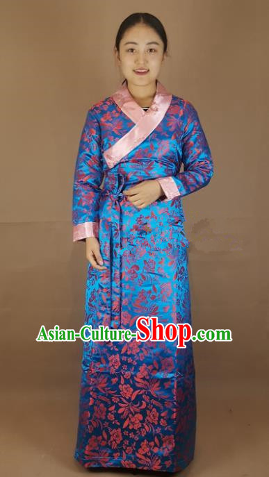 Chinese Traditional Zang Nationality Heishui Dance Costume, China Tibetan Blue Brocade Dress for Women