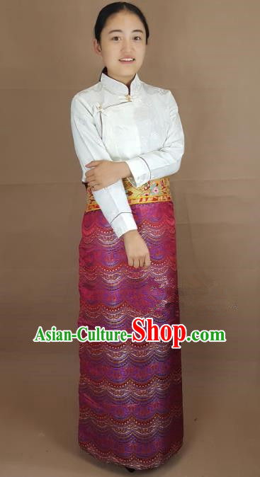 Chinese Traditional Zang Nationality Costume, China Tibetan Heishui Dance Rosy Brocade Skirt for Women