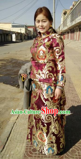 Chinese Traditional Zang Nationality Brocade Costume, China Tibetan Heishui Dance Clothing for Women