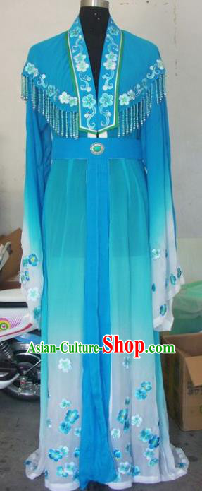 Chinese Traditional Beijing Opera Actress Costumes China Peking Opera Blue Dress for Adults