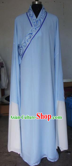 Chinese Traditional Beijing Opera Niche Costumes China Peking Opera Blue Robe for Adults
