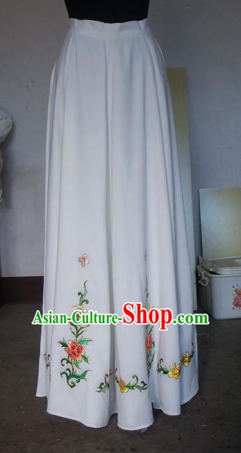 Chinese Traditional Beijing Opera Young Lady Costumes China Peking Opera Diva White Skirt for Adults