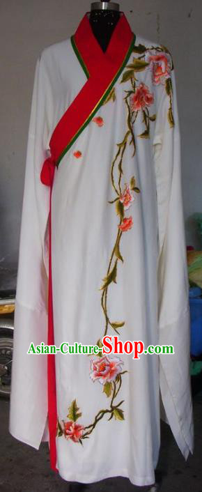 Chinese Traditional Beijing Opera Scholar Costumes Embroidered Peony White Robe for Adults