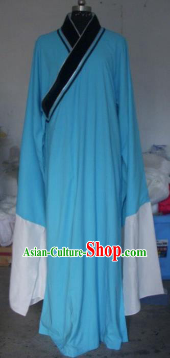 Chinese Traditional Beijing Opera Scholar Costumes Niche Blue Robe for Adults