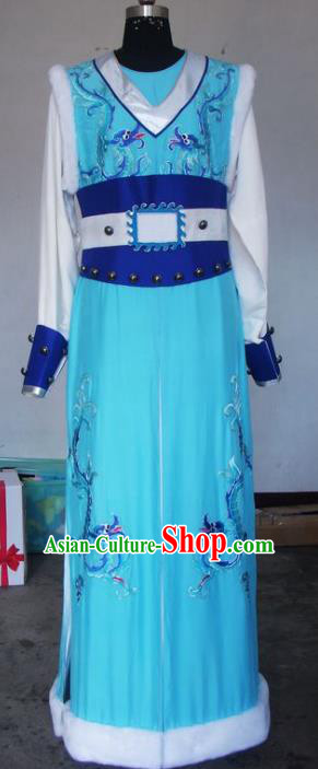 Chinese Traditional Beijing Opera Scholar Costumes Niche Embroidered Dragons Blue Robe for Adults