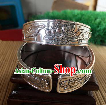 Handmade Chinese Miao Nationality Carving Lotus Fishes Sliver Bracelet Traditional Hmong Bangle for Women