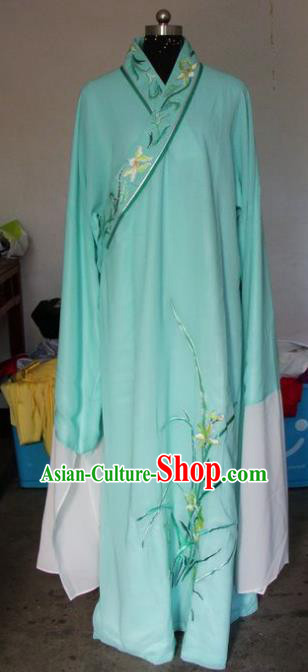 Chinese Traditional Shaoxing Opera Prince Embroidered Orchid Green Robe Peking Opera Niche Costumes for Adults