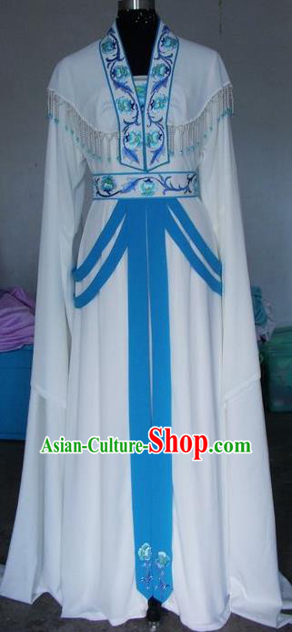 Chinese Traditional Beijing Opera Young Lady Costumes China Peking Opera Embroidered White Dress for Adults