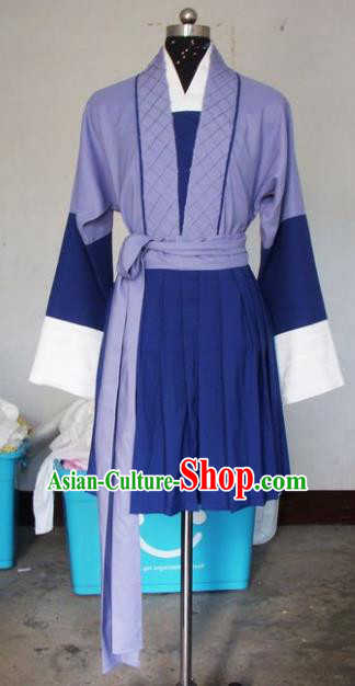 Chinese Traditional Shaoxing Opera Waiter Purple Robe Peking Opera Niche Costumes for Adults