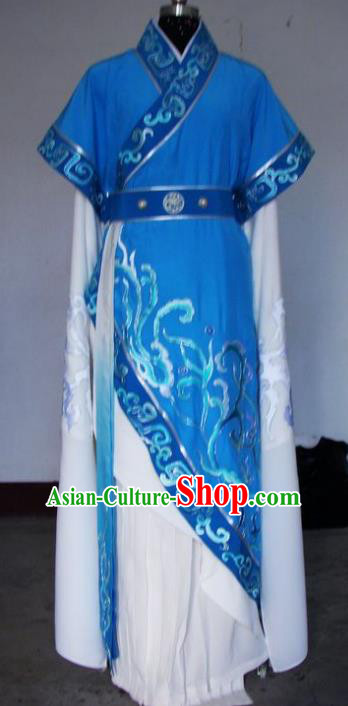Chinese Traditional Shaoxing Opera Princess Blue Robe Peking Opera Niche Costumes for Adults