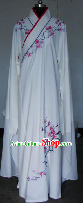 Chinese Traditional Shaoxing Opera Embroidered Wintersweet White Robe Peking Opera Niche Costumes for Adults
