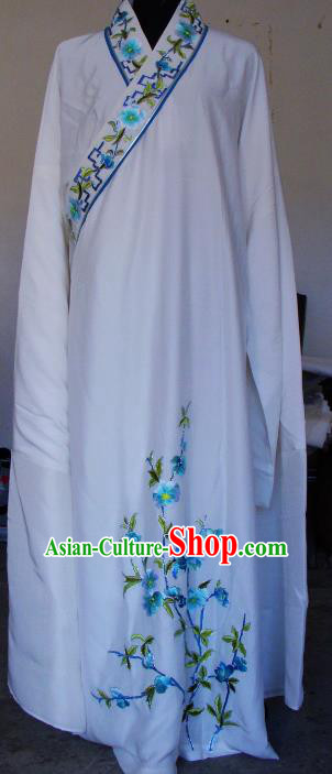 Chinese Traditional Shaoxing Opera Embroidered White Robe Peking Opera Niche Costumes for Adults
