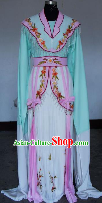 Chinese Traditional Beijing Opera Actress Green Costumes China Peking Opera Embroidered Water Sleeve Dress for Adults