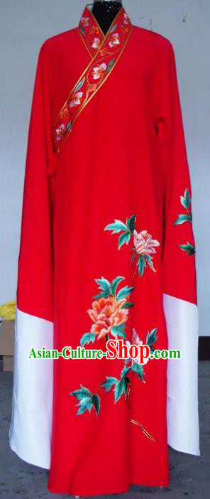 Chinese Traditional Shaoxing Opera Embroidered Red Robe Peking Opera Niche Costumes for Adults