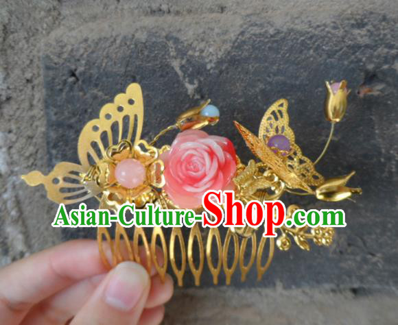Chinese Traditional Hair Accessories Ancient Bride Hairpins Pink Peony Hair Comb for Women