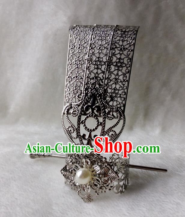 Chinese Traditional Ancient Prince White Bead Hairdo Crown Hair Accessories Swordsman Hairpins for Men