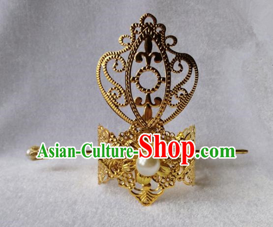 Chinese Traditional Ancient Prince White Bead Tuinga Hair Accessories Swordsman Hairpins for Men