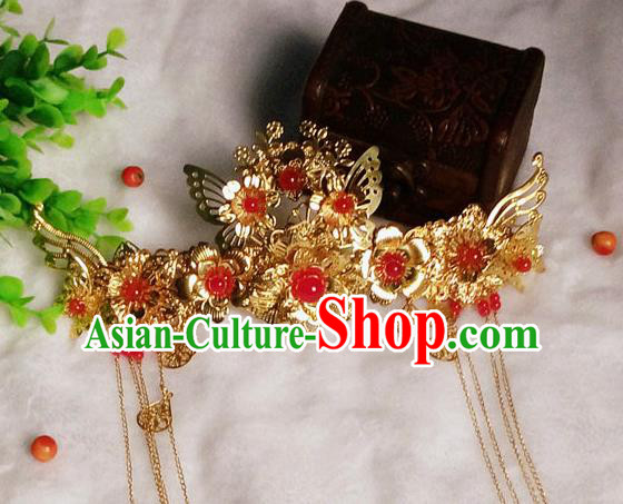 Chinese Traditional Hair Accessories Ancient Bride Phoenix Coronet Hairpins Tassel Hair Clip for Women